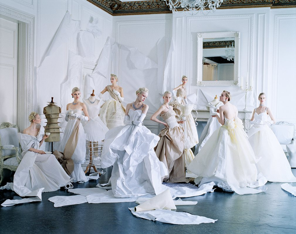 All the dresses are made out of paper.