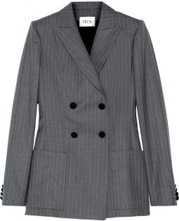 PALLAS Junon pinstriped double-breasted wool blazer.