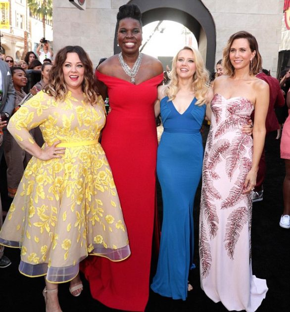 McCarthy with (from left) Leslie Jones, Kate McKinnon and Kristen Wiig at The Ghostbusters premiere.