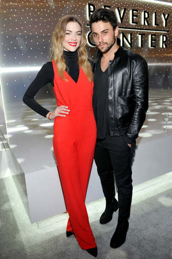 Actors Jaime King (L) and Jack Falahee celebrate the renovation announcement of the Reimagined Beverly Center.