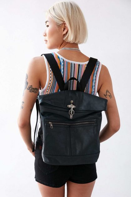 Women's Black Leather Smith Backpack.