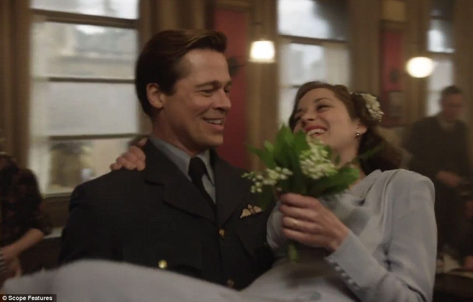 Pitt with Allied co-star Marion Cotillard