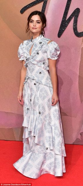 Jenna Coleman in stodgy Edwardian gown.