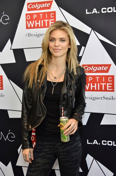 AnnaLynne McCord was all smiles as she attended the Colgate Optic White Beauty Bar sponsored by Lipton Sparkling Tea and LA Colors at the Hudson Loft in down town LA.