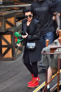 Kris Jenner wore her 'Nice 'boots to Disneyland yesterday for the celebration of grandchild Reign Disick.
