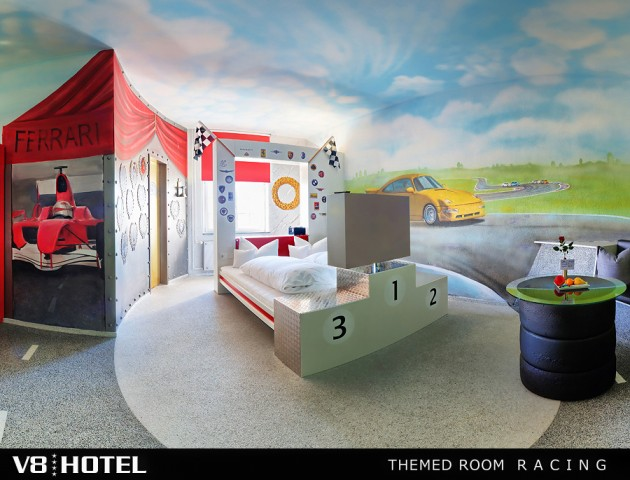 V8Hotel - the automotive themed room RACING of our 4-Star themed design hotel is unique, with its own character and loving equipment. The spa area, various gastronomy and caterings and banquet facilities complete the offer.