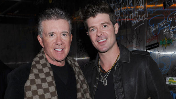 Alan Thicke (L) and Robin Thicke