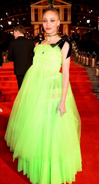 Adwoa Aboah in neon tulle at the British Fashion.