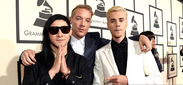 DIPLO with Justin Bieber and Skrillex  at 2016 Grammys.
