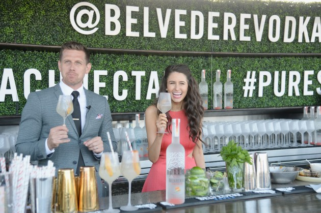 """WEST HOLLYWOOD, CA - APRIL 13:  Brian Stewart and chef Chloe Coscarelli attend Belvedere Vodka & Chloe Coscarelli Peach Nectar Garden Party at E.P. & L.P. on April 13, 2016 in West Hollywood, California.  (Photo by Chris Weeks/Getty Images for Mission Media)"""