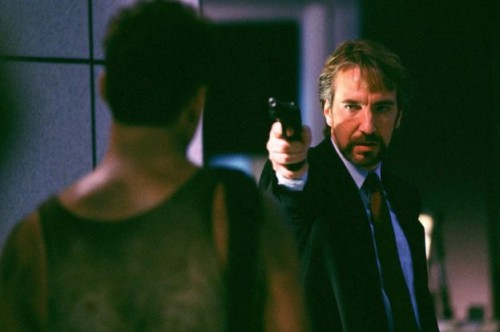in 1988, Rickman shot to fame as the villain in Die Hard. His portrayal of Hans Gruber opposite Bruce Willis'.