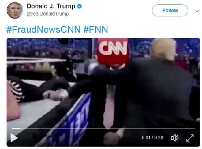 Cnn World News Twitter: UNBELIEVABLE ! Trump Tweets World Wrestling Clip Of Him