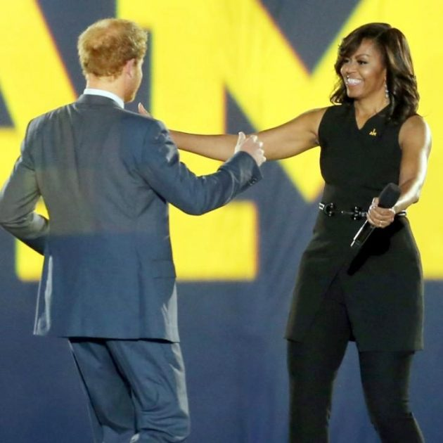 Prince Harry welcomes First Lady Michelle Obama at the Invictus Games.