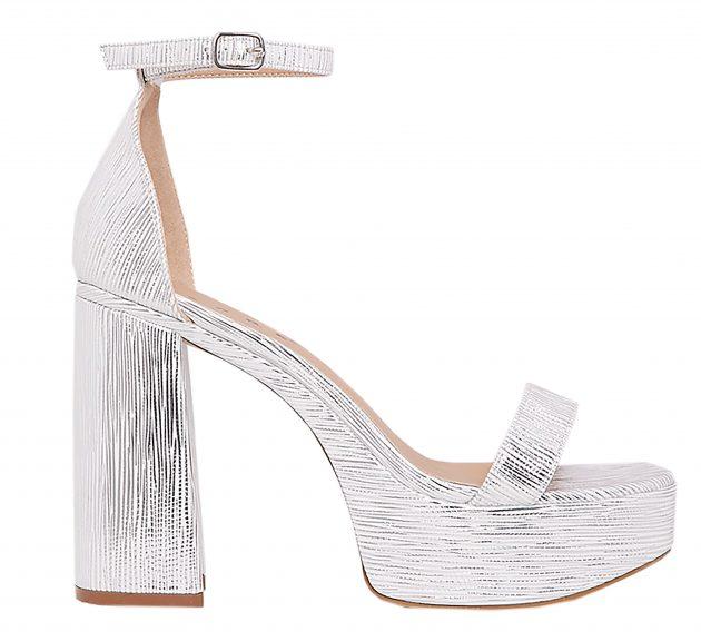 PrettyLittleThing Cyra Silver Metallic Platform Strappy Heels ($43.75)