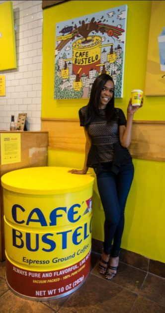 G: Michelle Williams enjoying a cafecito at the Café Bustelo Pop-Up Cafe in Chicago on Friday, Sept. 23.