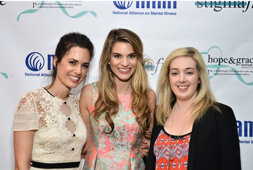 Torrey DeVitto, Rachel McCord and Jamie Stone posed together at the Philosophy and NAMI #stigmafree luncheon in honor of Mental Health Awareness month and the Hope and Grace Initiative.