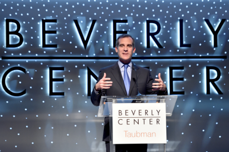 Mayor of Los Angeles Eric Garcetti speaks onstage during the renovation anouncement of the Reimagined Beverly Center on March 7, 2016 in Los Angeles.