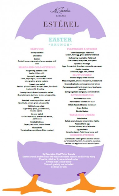 Esterel at the Sofitel Easter menu.