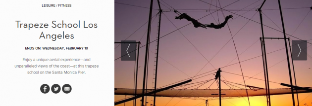 Two-hour flying trapeze classes for two $95.