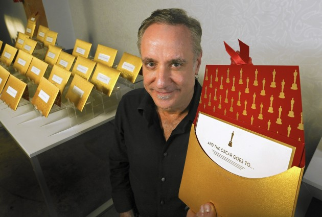 Mark Friedland and THE envelope. Photo: L.A. Times