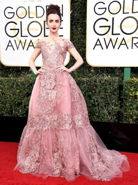 Lily Collins In Zuhair Murad Couture.